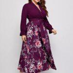 Plus Floral Print Surplice Front Belted Dress