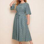 CURVE/PLUS Gilding Grid Print Belted A-line Dress