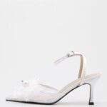 Faux Pearl & Bow Decor Ankle Strap High Heeled Pumps