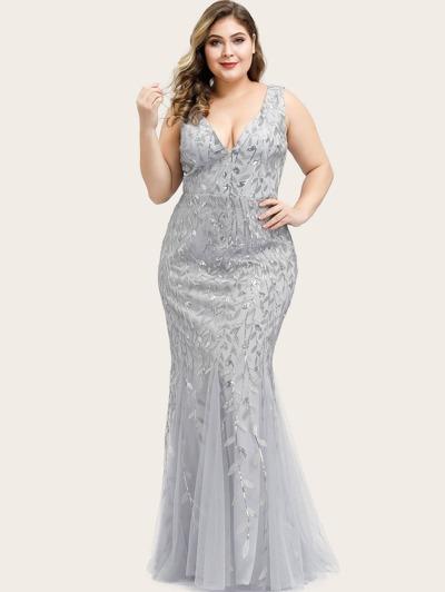 EVER-PRETTY Plus Sequin Plants Detail Mesh Prom Dress