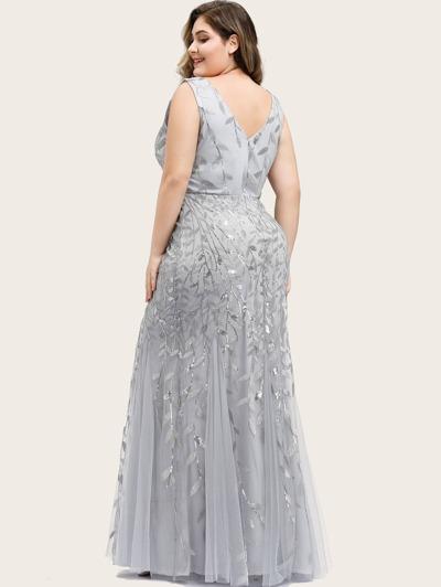 EVER-PRETTY CURVE/PLUS Sequin Plants Detail Mesh Prom Dress