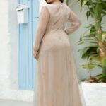 EVER-PRETTY Plus Sequin Tape Waist Rhinestone Mesh Prom Dress