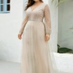 EVER-PRETTY CURVE/PLUS Sequin Tape Waist Rhinestone Mesh Prom Dress