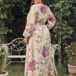 Plus Surplice Front Floral Print Belted A-line Dress