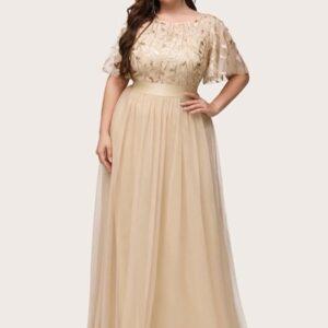 EVER-PRETTY CURVE/PLUS Leaf Sequin Bodice Mesh Prom Dress