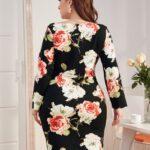 V-neck Scallop Edge Floral Print Dress