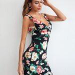Scallop Edge Double V Neck Floral Dress