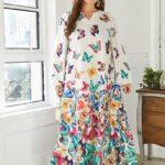 Plus Butterfly Print Tunic Dress