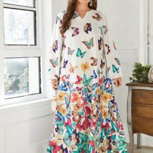 CURVE/PLUS Butterfly Print Tunic Dress