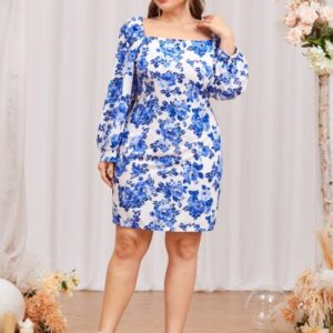 CURVE/PLUS Allover Floral Fitted Dress