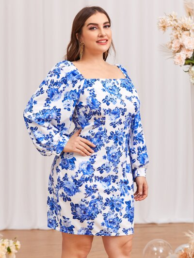 Plus Allover Floral Fitted Dress