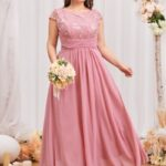CURVE/PLUS Floral Embroidery Bodice Prom Dress