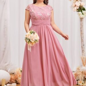 Plus Floral Embroidery Bodice Prom Dress
