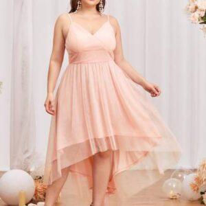 Plus Mesh Overlay Surplice Front Cami Prom Dress