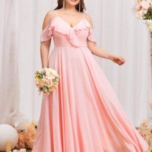 Plus Chiffon Cold Shoulder Ruffle Trim Maxi Prom Dress