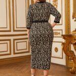 Contrast Trim Split Hem Self Belted Leopard Dress