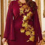 Slit Sleeve Gold Floral Print Dress