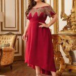 Off Shoulder Asymmetrical Hem Applique Detail Dress Without Belt