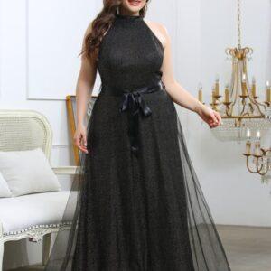 Plus Contrast Mesh Backless Belted Halter Dress