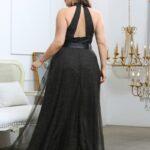 CURVE/PLUS Contrast Mesh Backless Belted Halter Dress