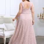 Plus Solid Backless Lace Cami Dress