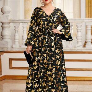 Bell Sleeve Allover Glitter Floral Print Belted Dress
