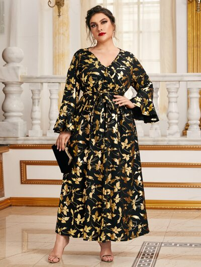 SHEIN Plus Bell Sleeve Allover Glitter Floral Print Belted Dress