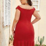 CURVE/PLUS Ruffle Hem Fitted Dress
