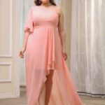 CURVE/PLUS Chiffon One Shoulder Asymmetrical Hem Dress