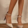 EMERY ROSE Metallic Ankle Strap Pumps