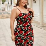 CURVY Floral Print Bodycon Dress