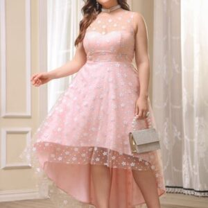 CURVE/PLUS Floral Print Mesh Overlay High Low Hem Prom Dress