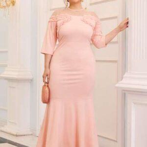Dobby Mesh Yoke Frill Trim Mermaid Hem Prom Dress