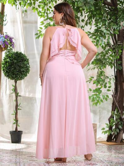 Plus Ruffle Trim Backless Contrast Sequin Dress