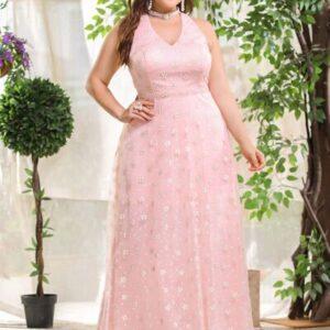 CURVE/PLUS Floral Mesh Overlay Backless Halter Dress