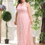 Plus Floral Mesh Overlay Backless Halter Dress