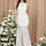 Low Back Split Hem Lace Overlay Dress