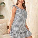 CURVY Striped Ruffle Smock Dress