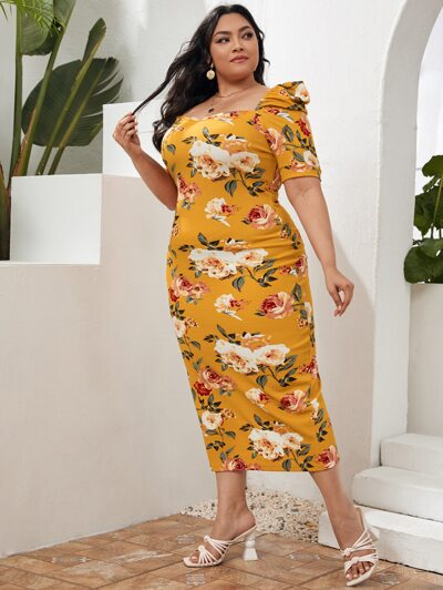 Floral Puff Sleeve Split Hem Dress