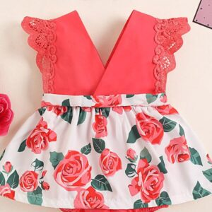 Baby Girl Floral Print Combo Bodysuit Dress & Headband