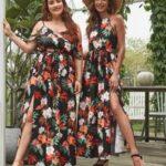 Curvy Cold Shoulder Split Thigh Belted Tropical Dress