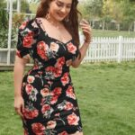 Puff Sleeve Floral Print Fitted Dress