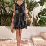 Polka Dot Scallop Trim Dress
