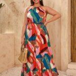 CURVY Allover Print Ruffle Hem Halter Dress