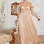 Plus Mesh Overlay Ruffle Trim Open Shoulder Dress