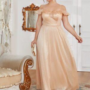 CURVE/PLUS Mesh Overlay Ruffle Trim Open Shoulder Dress