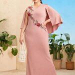 Appliques Detail Cloak Sleeve Dress