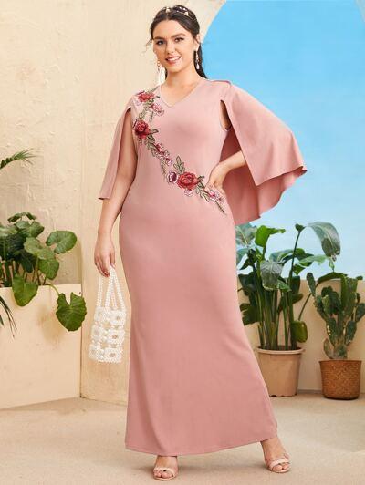 SHEIN Plus Appliques Detail Cloak Sleeve Dress