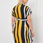 CURVY Notch Neck Striped Belted Dress