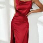 Split Thigh Button Side Satin Dress